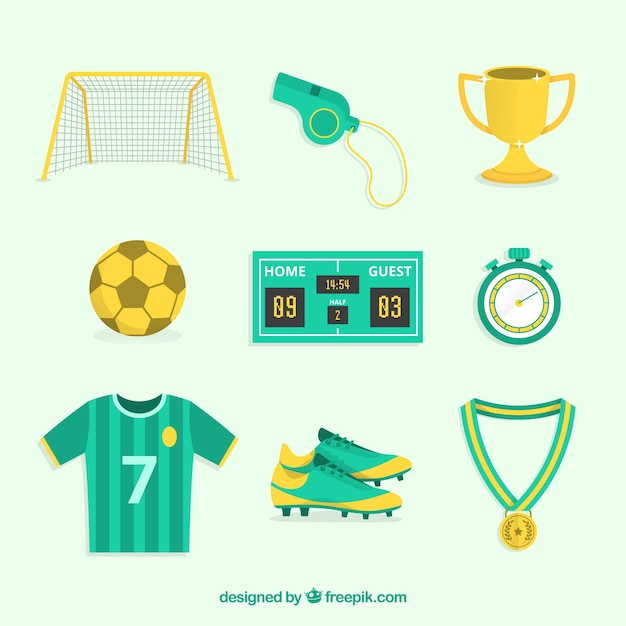 Soccer elements collection with equipment Free Vector