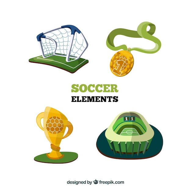Soccer elements collection with\ equipment