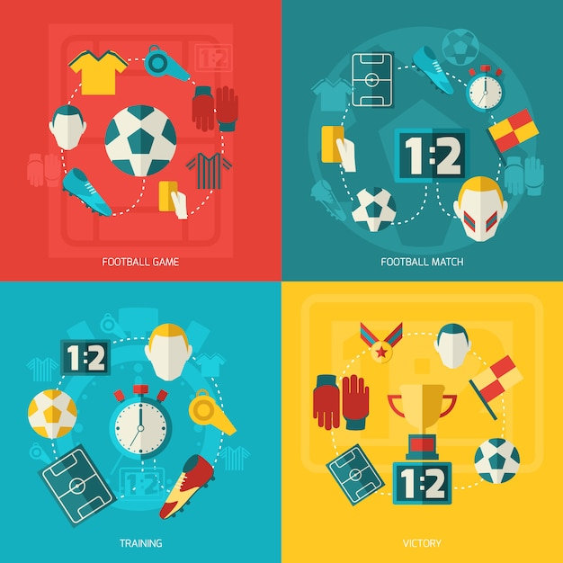 Soccer elements composition flat Free Vector
