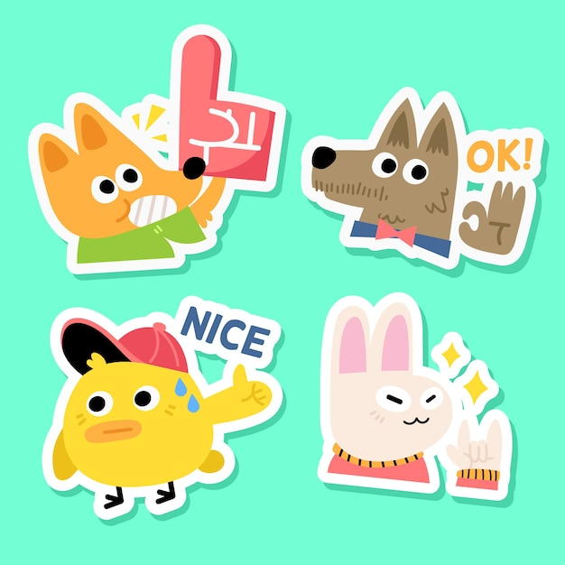 Soccer fan animal sticker collection Free Vector