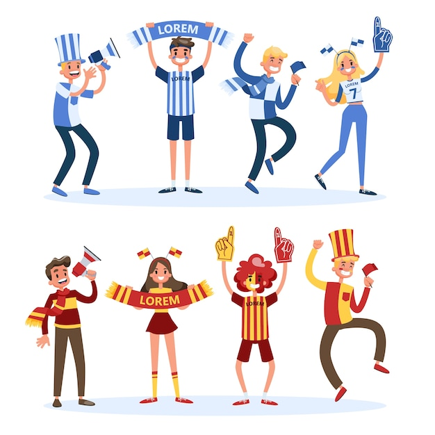 Soccer fan set. people with country flag support Premium Vector