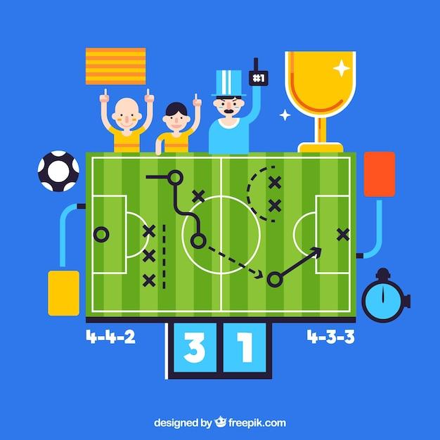 Soccer field background in flat style