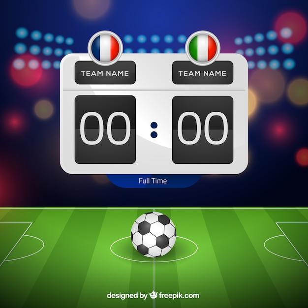 Soccer field background with scoreboard in\ realistic style