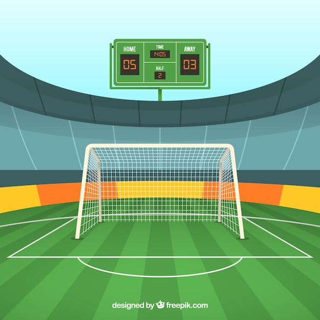 Soccer Field Background With Scoreboard Vector