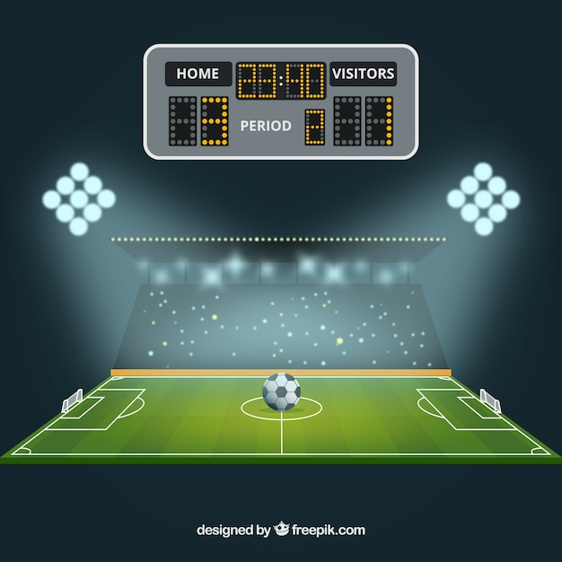 Soccer field background with scoreboard Free Vector