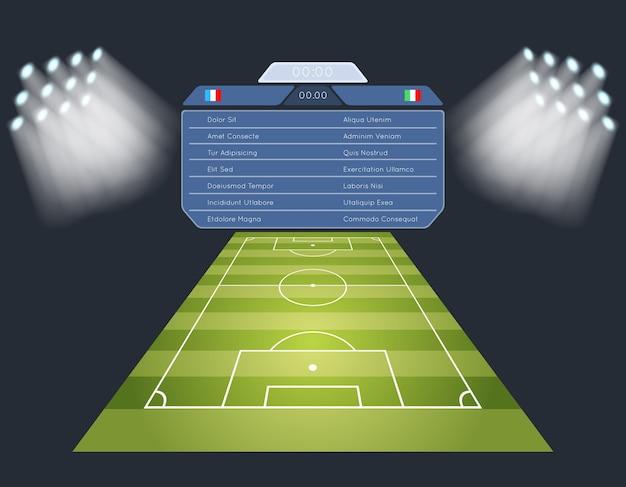 Soccer field with scoreboard. lighting sport football game stadium. Free Vector