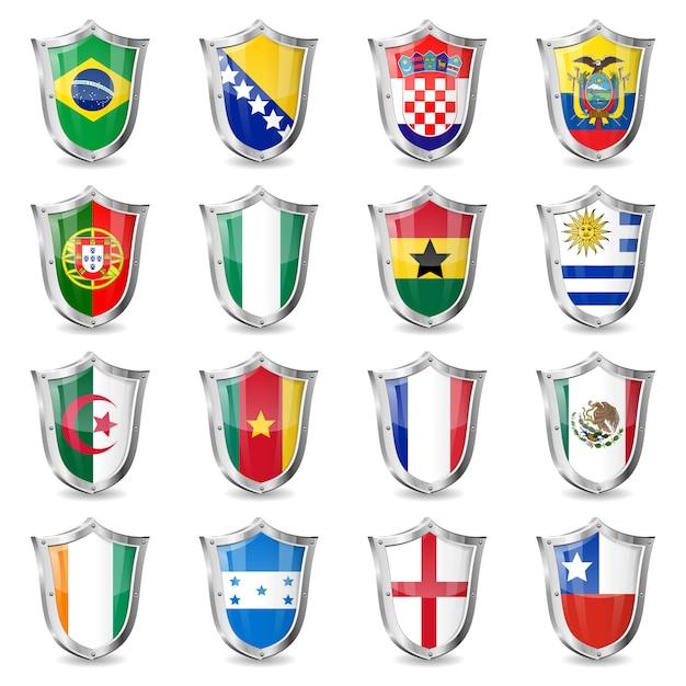 Soccer flags on shields Premium Vector