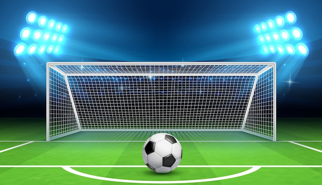 Soccer football championship  background with sports ball and goals. Premium Vector
