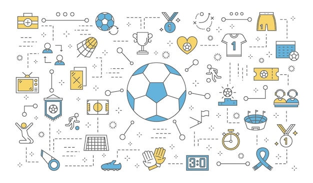 Soccer or football concept. set of football icons: trophy cup, uniform, ball, stadium and other.  line  illustration Premium Vector