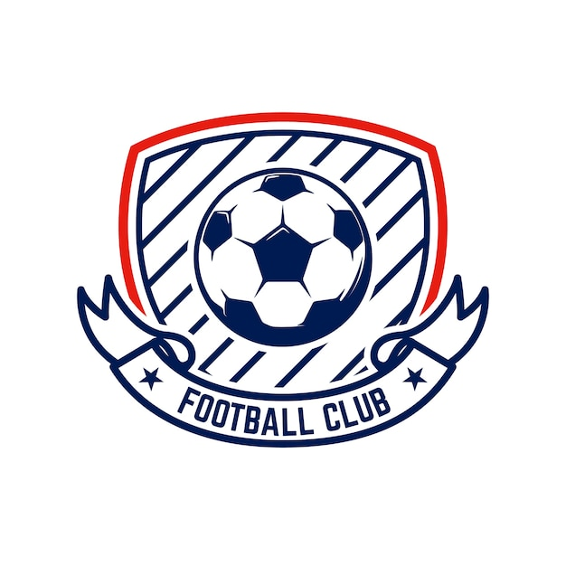 축구, 축구 엠블럼. 로고, 라벨, 엠블럼, 기호 디자인 요소입니다. 프리미엄 벡터