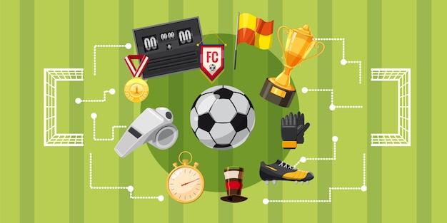 Soccer football horizontal background Premium Vector
