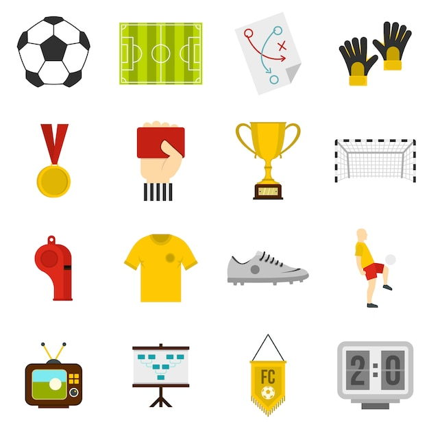 Soccer football icons set in flat style Premium Vector