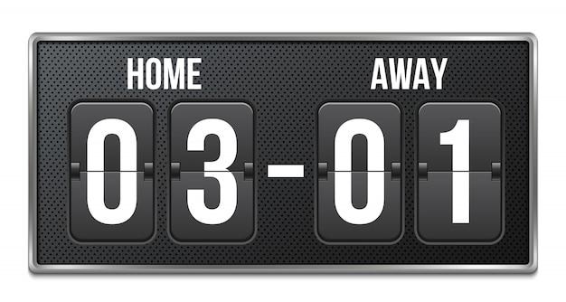 Soccer, football mechanical scoreboard, countdown. Premium Vector