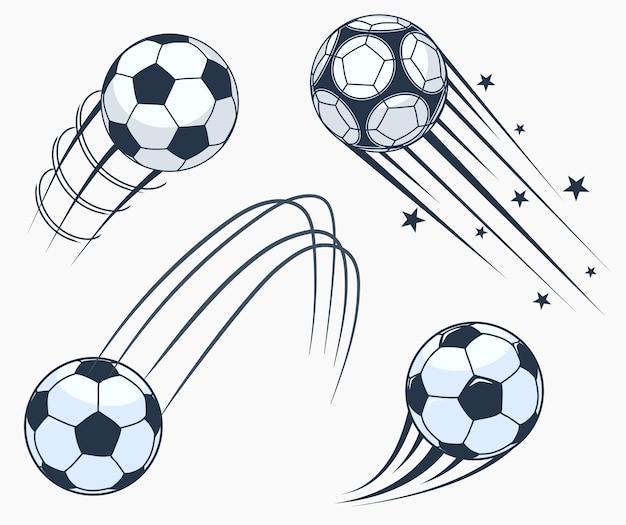 サッカーサッカーの動くスウッシュ要素、モーショントレイル付きボール、ダイナミックなスポーツサイン、スポーツエンブレムデザイン。 Premiumベクター