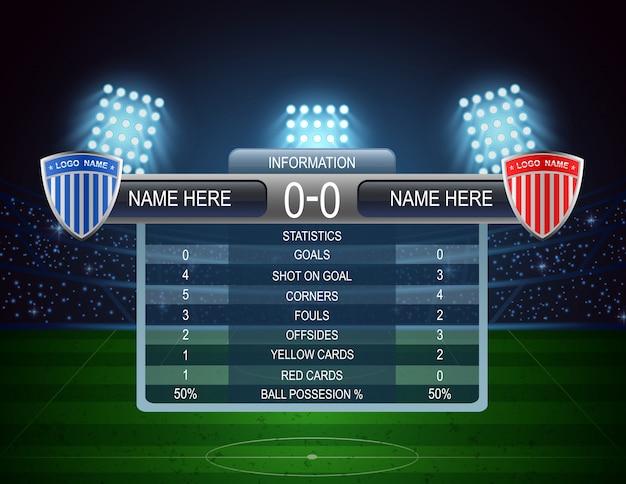 Soccer football stadium and scoreboard. vector illustration Premium Vector