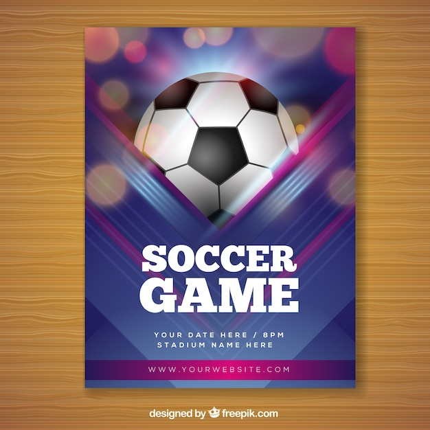 Soccer game flyer in realistic style Free Vector