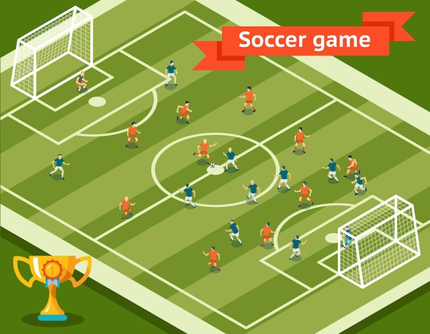 Soccer game. football field and players. competition and goal, sport and team. vector illustration Free Vector