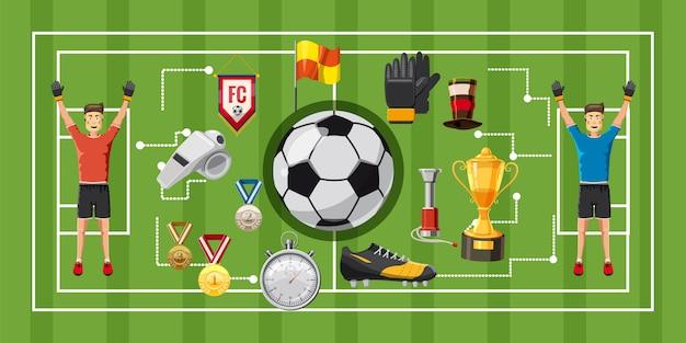 Soccer game football horizontal background Premium Vector