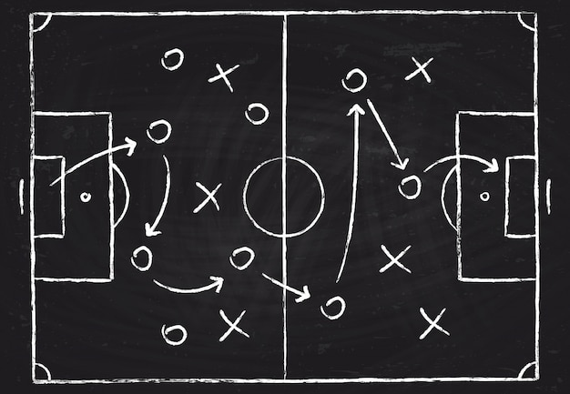 Soccer game tactical scheme with football players and strategy arrows. Premium Vector