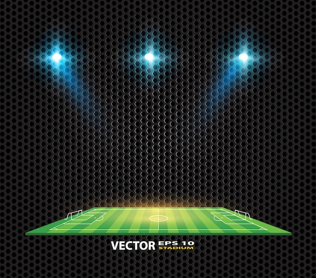 Soccer game vector stadium light score board scoreboard field. Premium Vector
