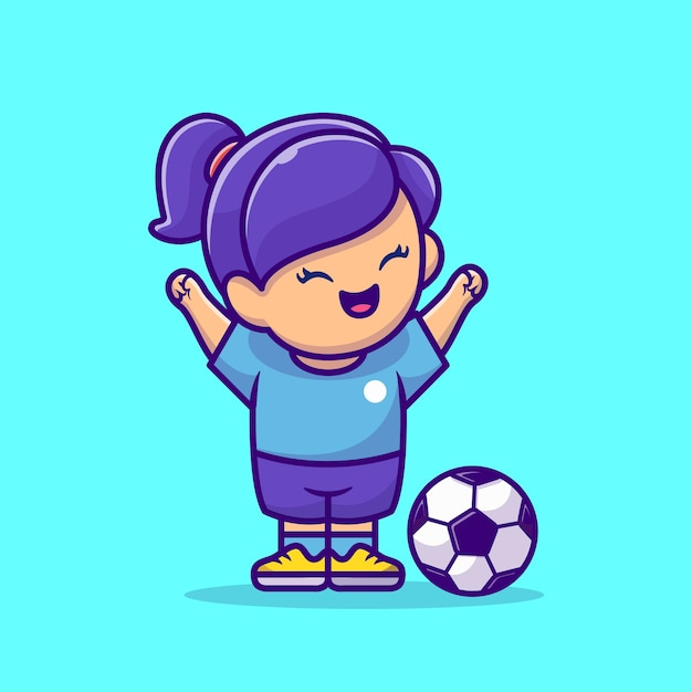 Soccer girl cartoon vector icon illustration. people sport icon concept isolated premium vector. flat cartoon style Free Vector