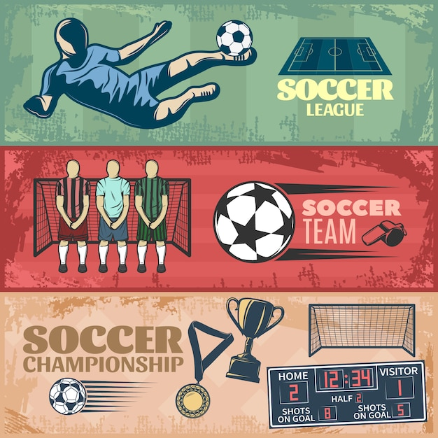 Soccer horizontal banners with team during penalty sports equipment trophies Free Vector