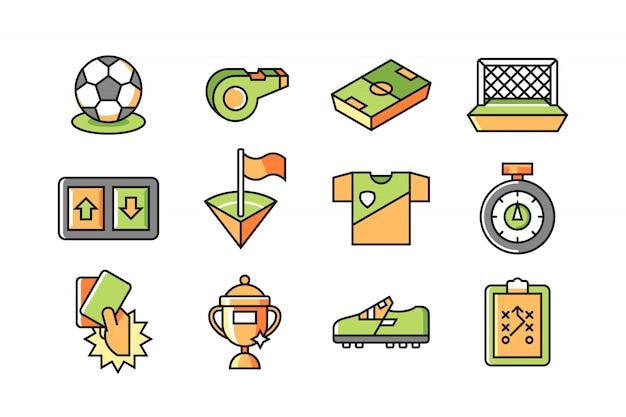 Soccer icon set Premium Vector