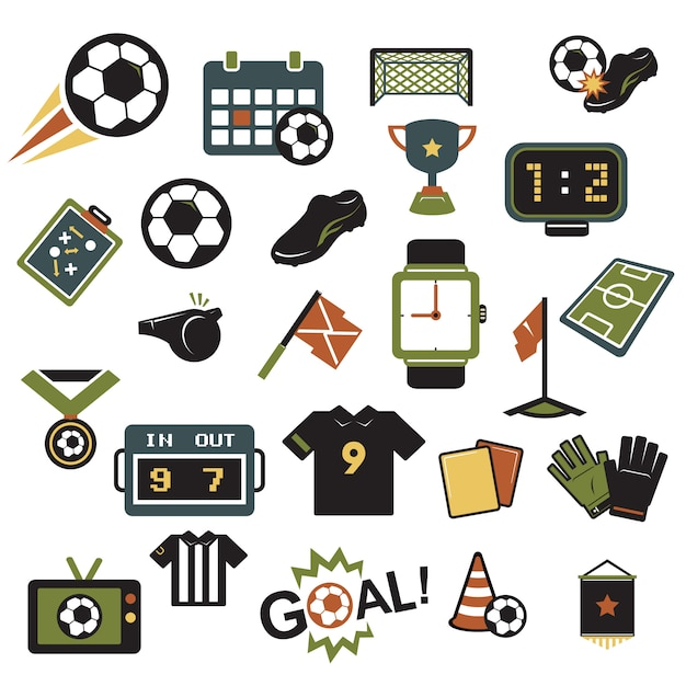 Soccer icons colors Premium Vector