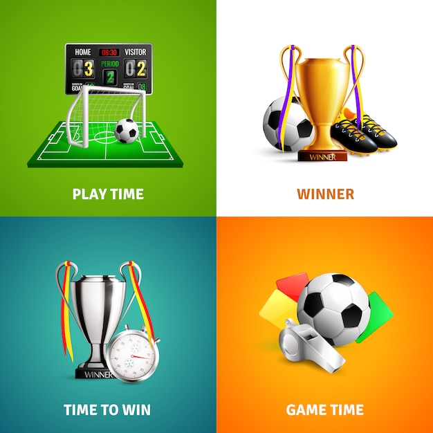 Soccer icons concept Free Vector