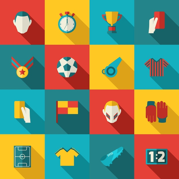 Soccer icons flat Free Vector