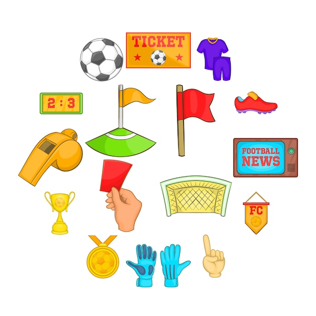 Soccer icons set, cartoon style Premium Vector