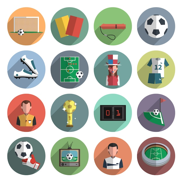 Soccer icons set flat Premium Vector