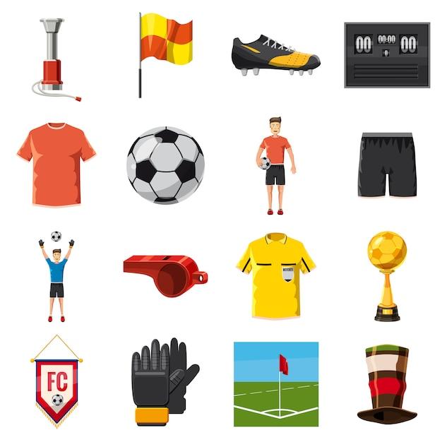 Soccer icons set football, cartoon style Premium Vector