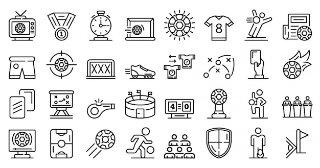 Soccer icons set, outline style Premium Vector