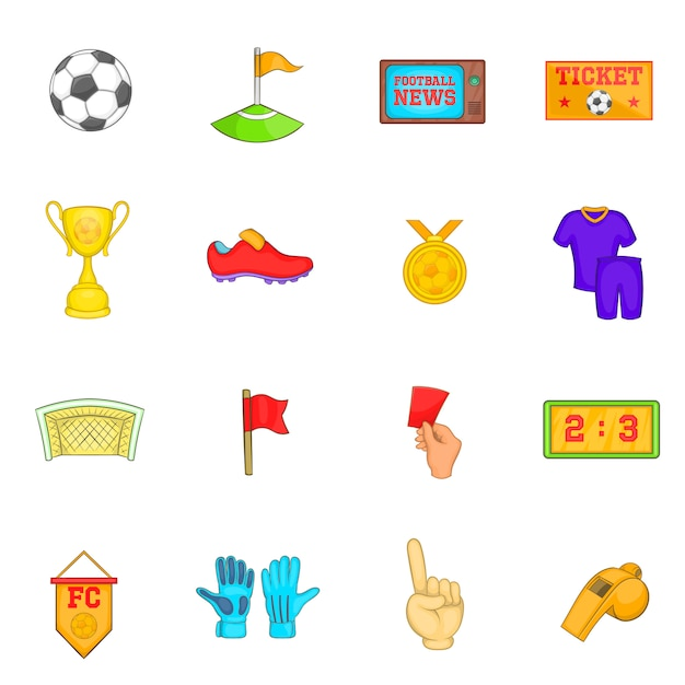 Soccer icons set Premium Vector