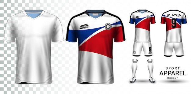 Soccer jersey and football kit presentation mockup template Premium Vector