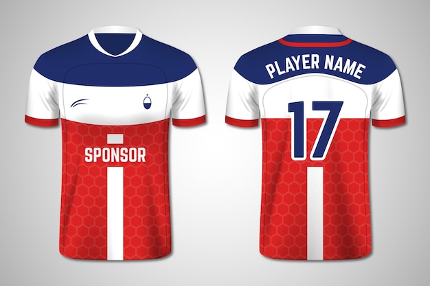 Soccer jersey front and back pack Premium Vector