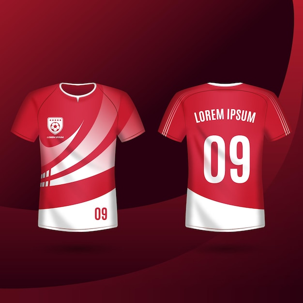 Soccer jersey front and back pack Free Vector