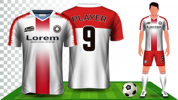 Soccer jersey, sport shirt or football kit uniform presentation template. Premium Vector