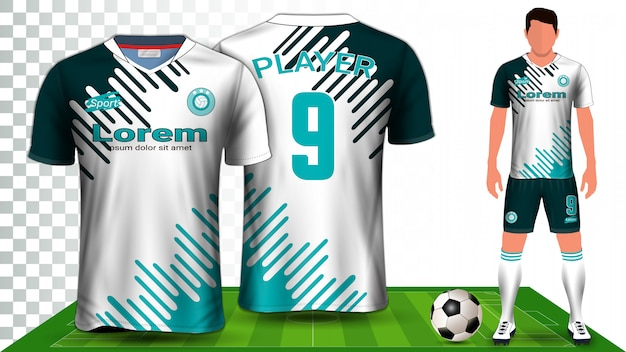 Soccer jersey, sport shirt or football kit uniform presentation Premium Vector