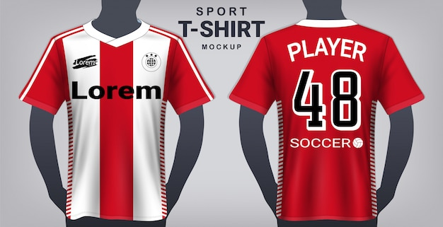 Soccer jersey and sport t-shirt mockup template. Premium Vector