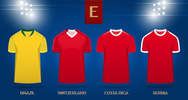 1f4468fd2b0 Soccer kit or football jersey template design for world cup 2018. Premium  Vector