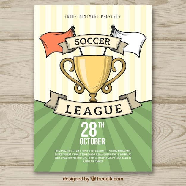 Soccer league flyer in hand drawn style