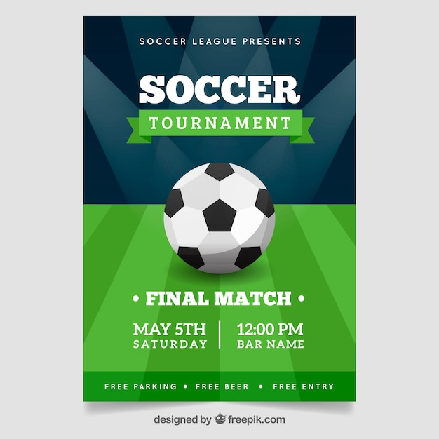 Soccer league flyer with ball and field