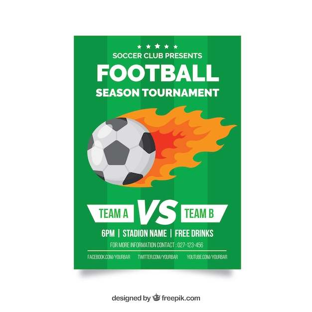 Soccer league flyer with ball in flat\ style