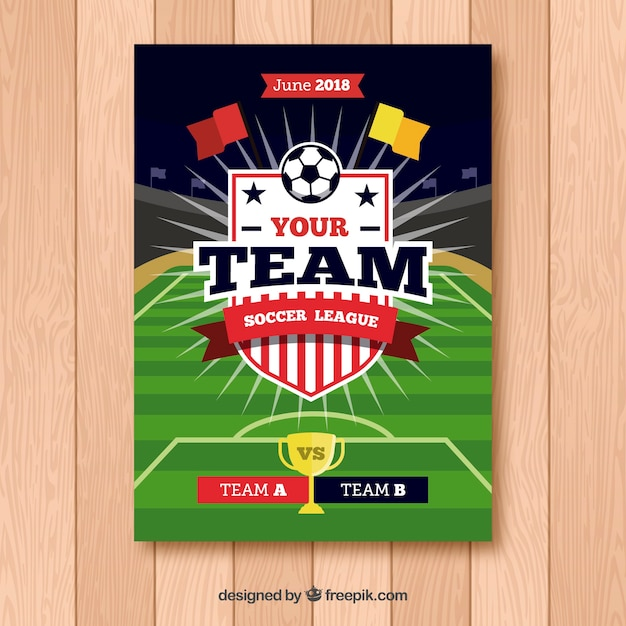 Soccer league flyer with ball in flat style Free Vector