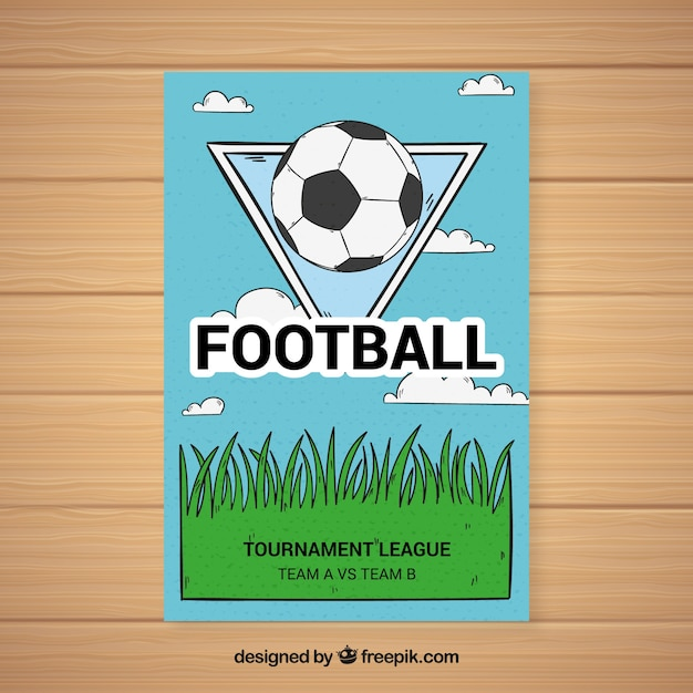 Soccer league flyer with ball in hand drawn\ style