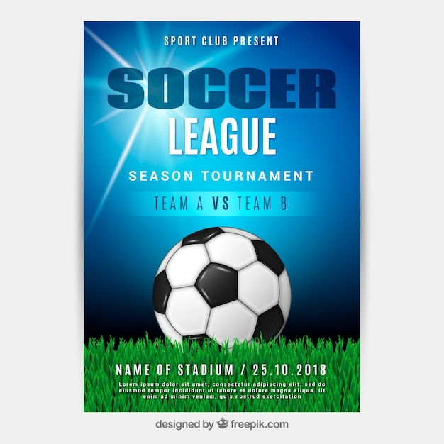 Soccer league flyer with ball in realistic\ style