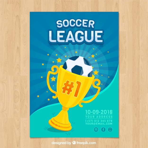 Soccer league flyer with ball and trophy Free Vector