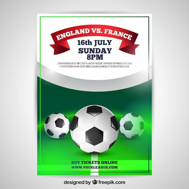 Soccer league flyer with balls in realistic style Free Vector